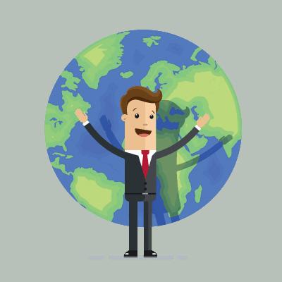 man met wereldbol duurzaam